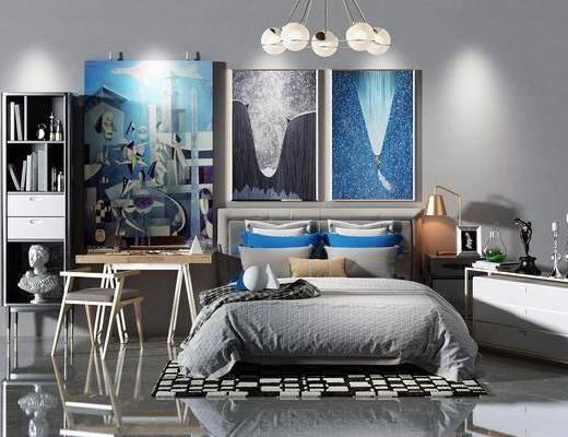 现代风格双人床, 床, 书桌椅, 椅子, 书柜, 床头柜, 装饰画, 台灯