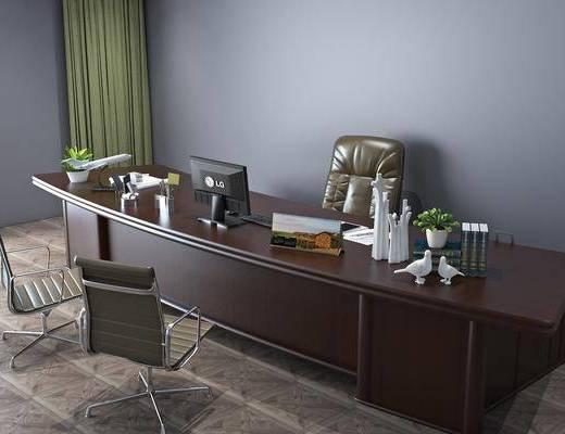 现代办公区, 办公区, 桌椅组合