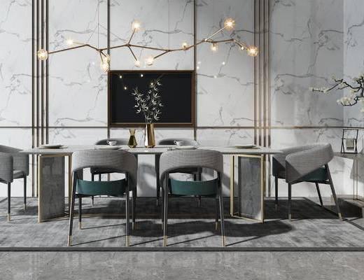 餐桌, 餐具, 吊灯, 桌椅组合, 端景台, 盆栽
