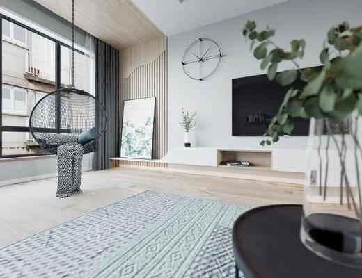 沙发组合, 墙饰, 电视, 吊椅, 盆栽植物, 茶几, 摆件组合