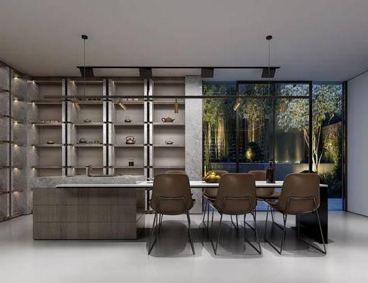 茶室, 餐桌, 餐椅, 单人椅, 装饰柜, 洗手台, 摆件, 装饰品, 陈设品, 休闲椅, 现代