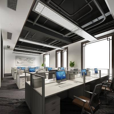 办公区, 新中式办公区, 办公室, 办公桌, 办公椅, 新中式