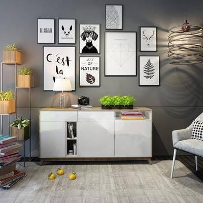 玄关柜, 边柜, 现代, 装饰画, 挂画, 单椅, 椅子, 休闲椅, 吊灯