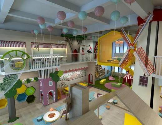 幼儿园教室, 幼儿园活动室, 幼儿园图书室, 活动室, 儿童桌椅, 儿童吊灯, 气球