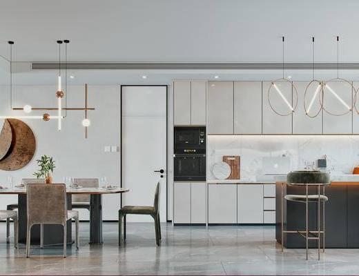 餐桌, 墙饰, 吊灯, 餐具组合, 橱柜组合, 吧台, 吧椅