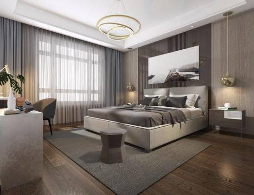 卧室, 双人床, 床头柜, 吊灯, 装饰画, 挂画, 单人椅, 凳子, 摆件, 装饰品, 陈设品, 现代