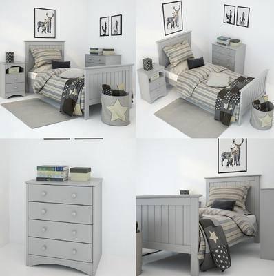 儿童床, 床头柜, 现代, 北欧, 装饰画, 挂画, 边柜, 单人床