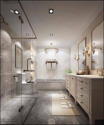 卫生间, 洗手台, 吊灯, 壁灯, 装饰画, 现代