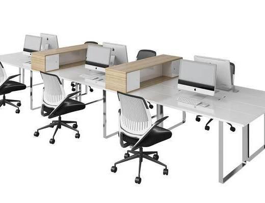 现代, 办公桌, 办公椅, 单椅, 储物柜
