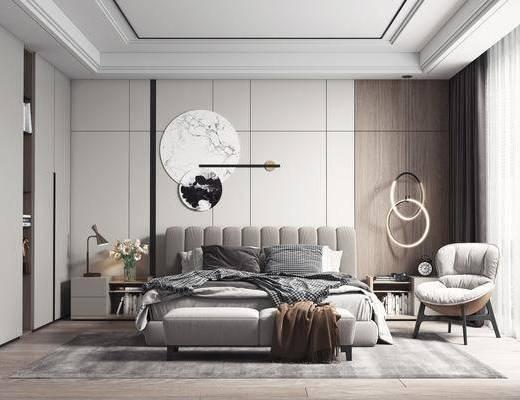 双人床, 墙饰, 吊灯, 单椅, 衣柜, 床尾踏