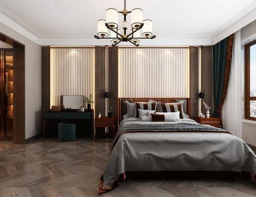 新中式卧室, 双人床, 吊灯, 梳妆台