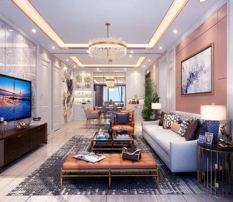 客厅, 餐厅, 现代客餐厅, 轻奢, 沙发组合, 茶几, 单人沙发, 摆件, 挂画, 吊灯, 电视柜, 装饰品, 桌椅组合, 餐桌, 台灯, 植物, 椅子, 餐具, 盆栽, 现代