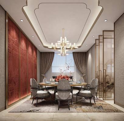 包厢, 新中式餐厅, 新中式包厢, 圆桌, 单椅, 椅子, 吊灯, 花瓶花卉, 餐具, 屏风, 新中式