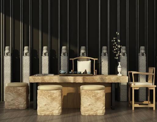 新中式, 茶桌, 凳, 椅子, 单椅, 茶具, 石柱, 石狮子, 盆栽, 摆件