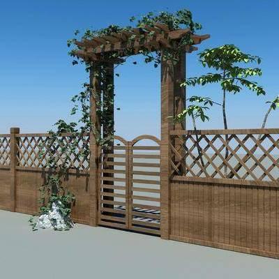 木栅栏, 花架, 现代