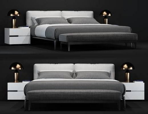现代, 床具, 双人床, 床头柜, 台灯, 尾榻