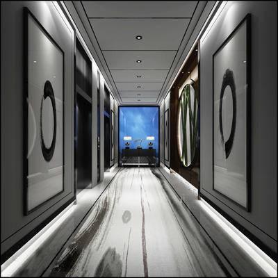 中式, 玄关, 走廊