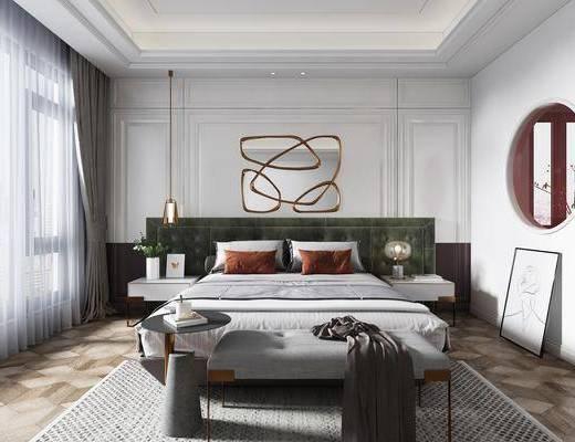 吊灯, 装饰镜, 双人床, 床头柜, 床尾凳, 挂画