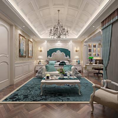 卧室, 双人床, 床头柜, 台灯, 多人沙发, 茶几, 单人沙发, 书桌, 吊灯, 单人椅, 装饰柜, 摆件, 装饰品, 陈设品, 装饰画, 挂画, 欧式