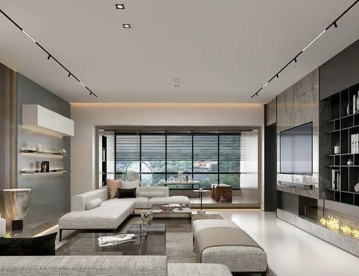 沙发组合, 茶几, 茶桌, 茶具组合, 吊灯, 装饰画