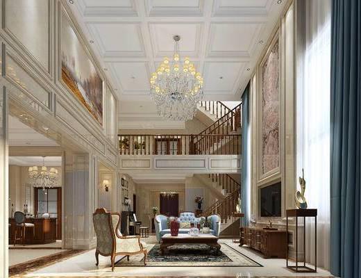 沙发, 茶几, 电视柜, 餐桌椅, 楼梯, 吧台