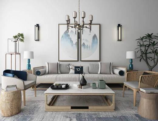 新中式沙发茶几装饰画吊灯地毯组合, 新中式, 中式沙发, 茶几, 中式挂画, 中式吊灯