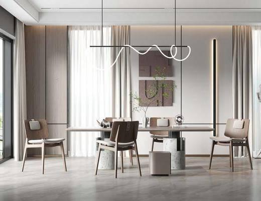 现代, 餐厅, 家装
