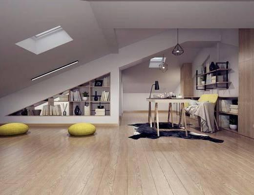 阁楼书房, 装饰柜, 书桌, 单人椅, 装饰架, 书籍, 装饰品, 陈设品, 北欧