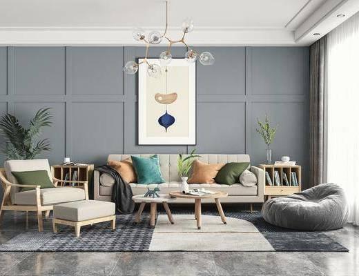 双人沙发, 休闲椅, 吊灯, 绿植, 摆件