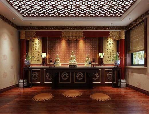 佛堂, 装饰架, 盆栽, 装饰品, 陈设品, 中式