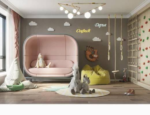 单人床, 墙饰, 吊灯, 玩具, 懒人沙发, 帐篷