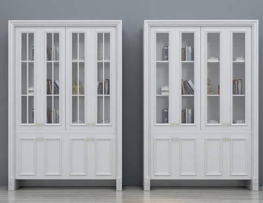 书柜, 装饰书柜, 玻璃书柜, 书架, 简欧