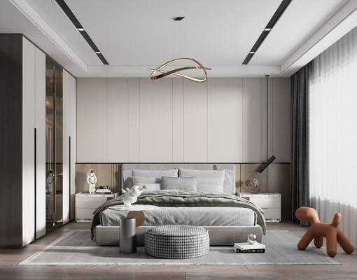 现代简约, 卧室, 摆件, 双人床