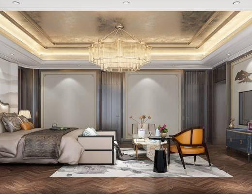 新中式, 卧室, 双人床, 边几, 单椅