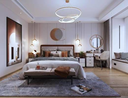 现代轻奢, 卧室, 双人床, 床头柜