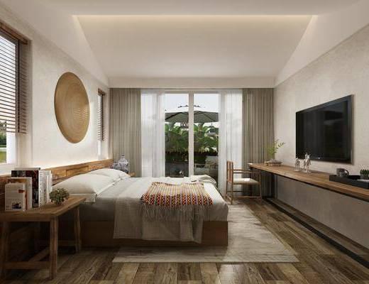 酒店, 客房, 卧室, 日式卧室, 民宿, 床具组合