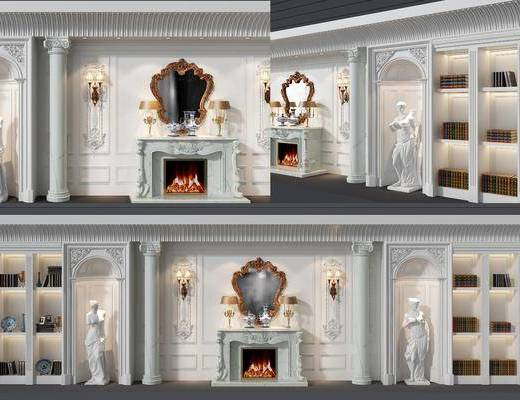 壁炉, 装饰柜, 书籍, 装饰镜, 欧式