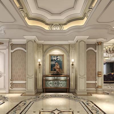 端景, 边柜, 摆件, 饰品, 挂画, 壁灯, 沙发, 吊灯, 雕塑, 欧式柱子