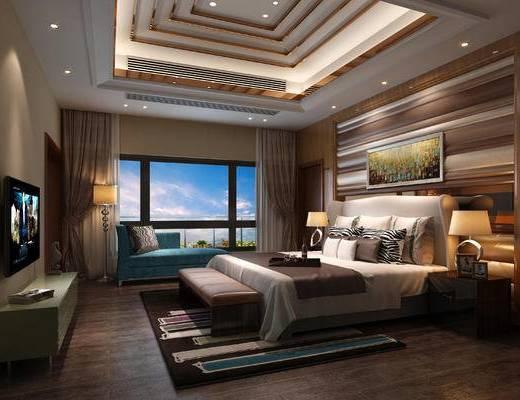 现代, 卧室, 双人床, 贵妃椅, 挂画