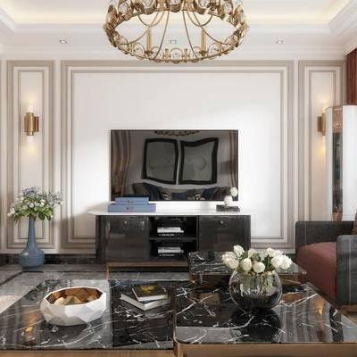 客廳, 餐廳, 沙發, 茶幾, 吊燈, 邊幾, 臺燈, 落地燈, 掛畫, 擺件, 裝飾品, 置物架, 鋼琴, 簡歐