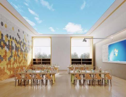现代幼儿园, 现代美术室, 书桌, 椅子, 书柜, 投影仪