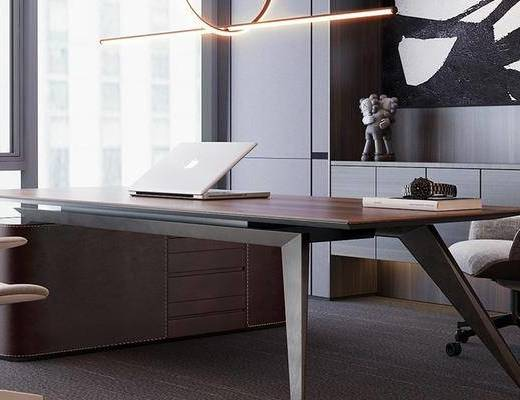 办公桌, 桌椅组合, 吊灯, 装饰画, 单椅, 书籍