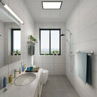 卫生间, 洗手台, 镜子, 毛巾架, 花洒, 洗手盆, 洗漱用品