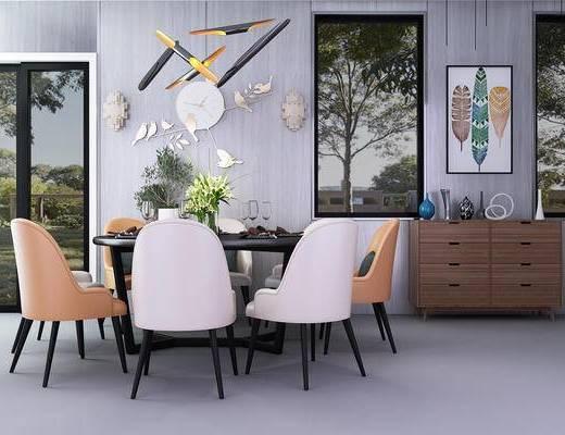 现代, 餐桌, 圆桌, 椅子, 餐具, 吊灯, 时钟, 边柜, 装饰柜, 挂画, 盆栽