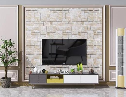 现代电视柜, 电视柜, 盆栽, 落地空调, 现代