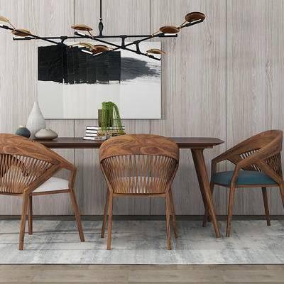 北欧简约, 餐桌椅组合, 吊灯, 桌椅组合, 北欧