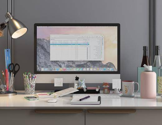 电脑桌, 办公桌, 电脑, 台灯, 摆件, 现代
