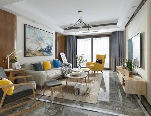 混搭客厅, 北欧客厅, 现代客厅, 现代, 布艺沙发, 电视柜, 现代吊灯