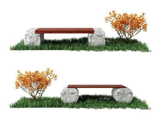 石头长凳, 绿植, 中式