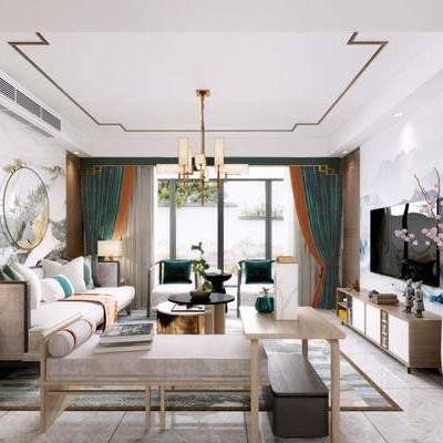 新中式客厅, 新中式, 客厅, 中式沙发组合, 吊灯, 花瓶, 屏风, 花格